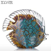 Tooarts Colorful Spotted Tropical Fish Glass Figurine Fish Figurine Mediterranean Art Favor Craft Gift Home Decoration
