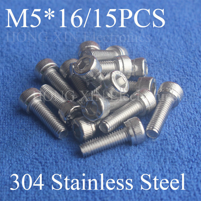 15Pcs M5*16 304 Hexagon Socket Head Cap Screws Hex Socket Screw Furniture Metric Bike Bolt screw set stainless steel screws Bolt 20pcs m4 m5 m6 din912 304 stainless steel hexagon socket head cap screws hex socket bicycle bolts hw003