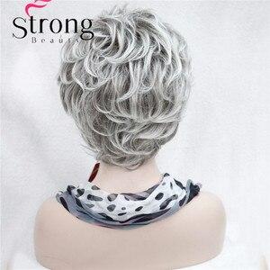 Image 5 - StrongBeauty короткие Многослойные Серебристые серые Омбре полный синтетический парик женские парики выбор цветов