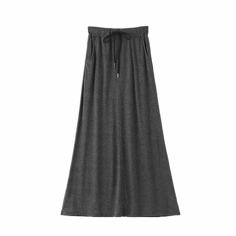 A ラインスカートホット販売リアル段 Faldas Mujer 段 Faldas 夏スカート女性 2019 ペチコートファム高ウエストポケットモーダルダークロング弾性