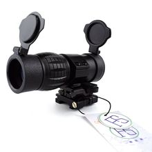 Tactical 3X Magnifier Scope Optics Scopes Riflescope Compact Sight with Flip UP Mount Side Picatinny Weaver Rail Airsoft Rifle недорого