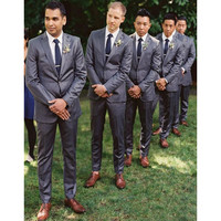 Custom Made Two Button Trim Fit Groom Tuxedos Peaked Label Best Man Suit Wedding Suits Three piece (Jacket+Pants) B822
