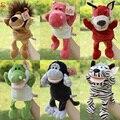 Juego historia juguete de la historieta animal elefante león lobo ovejas marionetas de mano muñeca de la felpa de dormir pacificar rellenos educativos del regalo del bebé 1 unid