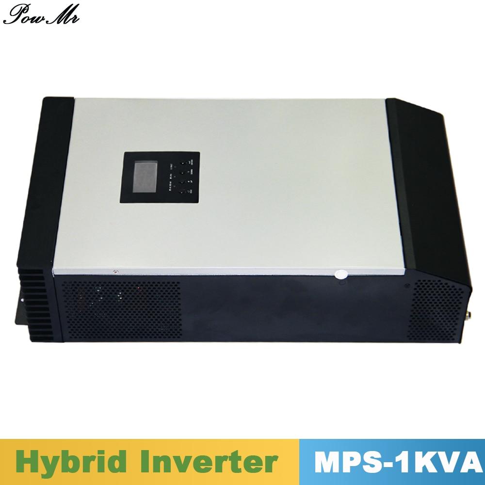 1000va 800 Вт/1000 Вт чистая синусоида инвертор гибридных Инвертор 24 В/48vdc Вход 220vac Выход с MPPT Зарядное устройство контроллер