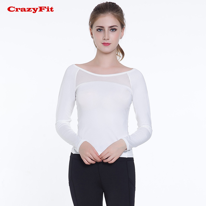 CrazyFit Yoga Top White Sport Shirt Long Sleeve 2018 New Fitness Women Sport Clothes Mesh Hollow out Cross Straps Yoga Clothing