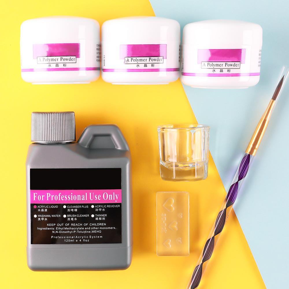 5/7 Pcs/Set Acrylic Powder Acrylic Nail Kit Crystal Nail Polymer Acrylic For Nails Set For Manicure Need UV Lamp Nail Art Brush