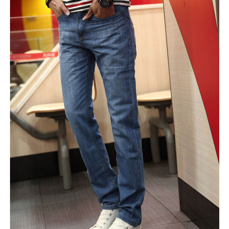 Top quality 2018 Spring Summer thin denim Solid blue Washing Straight Casual Slim Fit hip hop biker teenagers homme 28-40