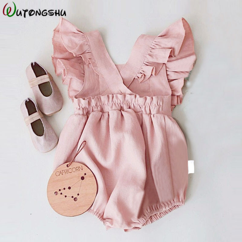 Newborn Baby Girls Ruffles   Rompers   Bebe One-Pieces Summer Newborn Kids Sleeveless Backcross Girl Clothes Baby Playsuit Jumpsuits