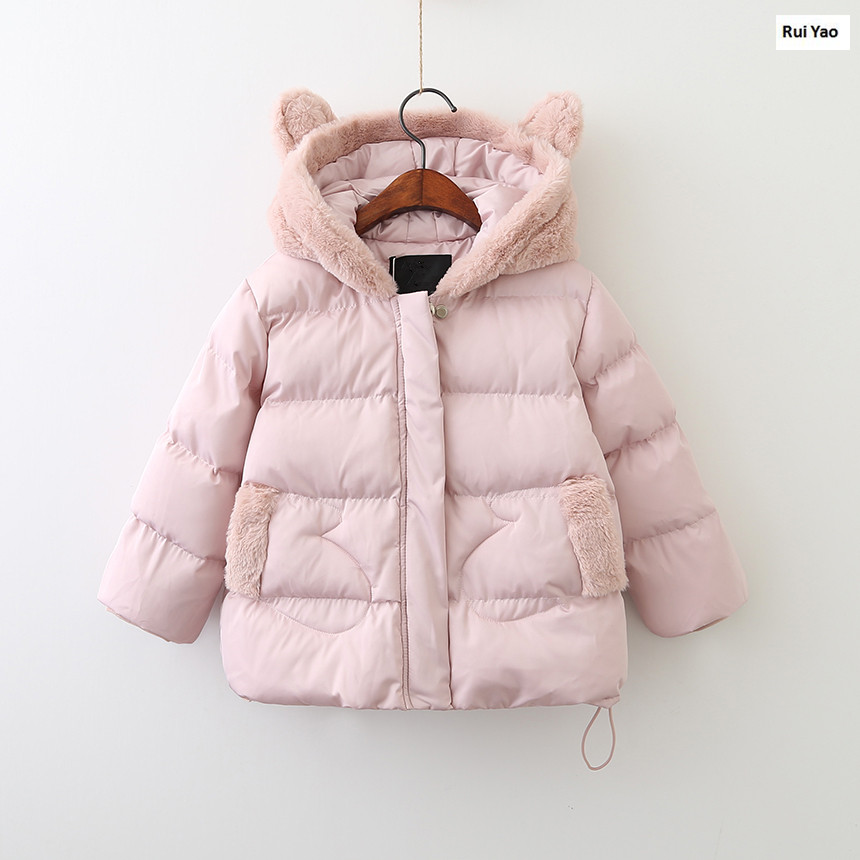 Y70943377 2017 New Winter Baby Girls Jacket Hooded Solid Pink Girl Coat Girl Outerwear Worm Girls Clothes Lolita Kids Jacket