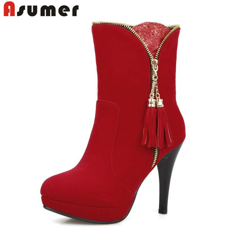 autumn and winter hot sale nubuck leather round toe ankle boots thin heels tassel fashion platform black red women boots winter 2014 british round solid leather thick follow with frosted leather ladies nubuck leather ankle boots