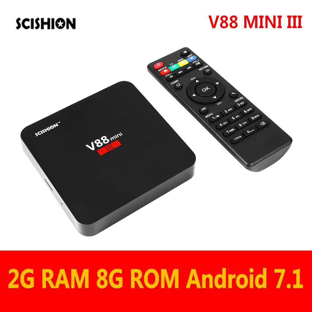SCISHION V88 Mini III Android TV Box 2.4G WiFi USB 3.0 Android 7.1 box Support 4K 1.5GHz Core RAM + 8 ROM RK3328 Media player transport phenomena in porous media iii