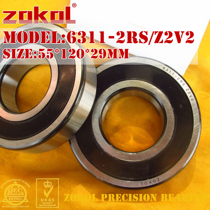 ZOKOL 6311-2RS bearing 6311 2RS Z2V2 180311 Z2V2 Deep Groove ball bearing 55*120*29mm 6311