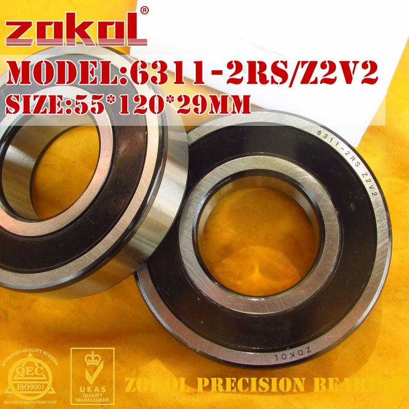 ZOKOL 6311-2RS bearing 6311 2RS Z2V2 180311 Z2V2 Deep Groove ball bearing 55*120*29mm zokol 6411rs bearing 6411 2rs 180411 6411 2rs deep groove ball bearing 55 140 33mm