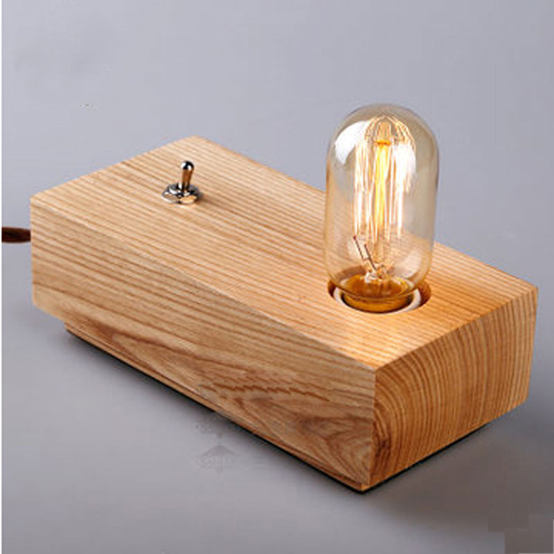 vintage loft edison bulbs wooden shade handmade wood led night table lamp wooden desk lighting modern