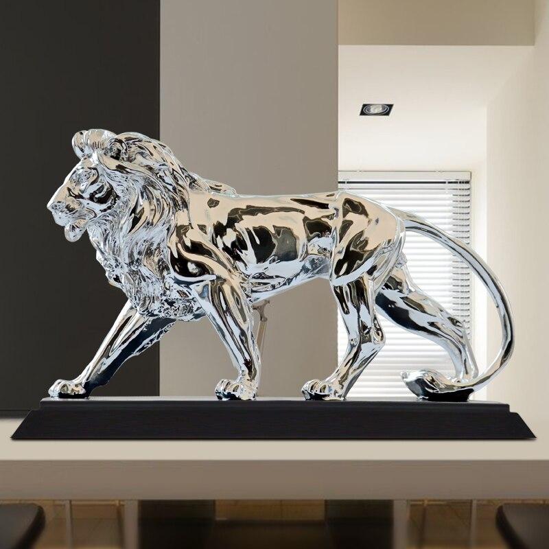 Africano Feroce Leone Scultura Statua Argento Prepotente Leone Animale Decorazione Mobili Per La Casa