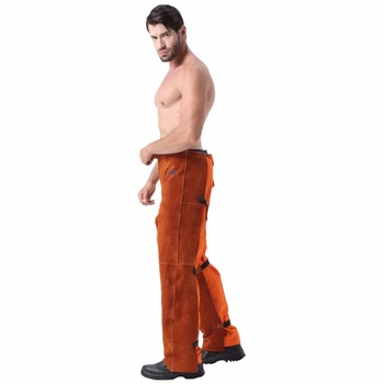 Leather Welding Chaps Trousers Flame/Heat/Abrasion Resistant Cowhide Leather Worker Britches Romper Welding Paints