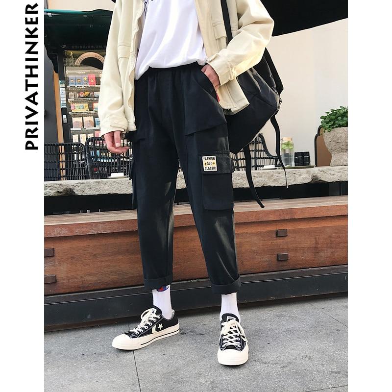Privathinker Men Vintage Cargo Pants 2018 Mens Hiphop Khaki Pockets Joggers Pants Male Korean Fashion Sweatpants Winter Overalls by Privathinker