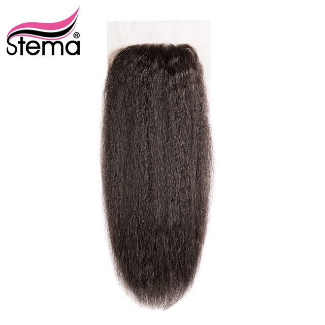 Stema Lace Closure Brazilian Kinky Straight Human Remy Hair Natural Color 4x4 Free Part with baby hair Shipping Free