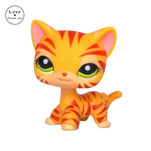 pet toys yellow standing Tiger cat  short hair kitty #1451 rare old collection Toys orange tabby cat figure free shipping
