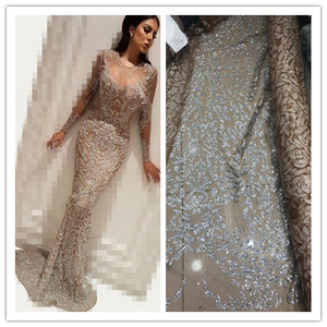 Image 1 - Nigerian French Fabric High Quality JIANXI.C 52205 Best Selling African Lace Fabric Glued glitter sequins Tulle Lace Fabric