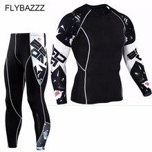 Mens Sportswear Rashgard Compression Sports Suit Fitness Gym T Shirt MMA Quick Drying Running Tights Jogging Pant Men Underwear