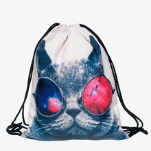 Harajuku Cat New Fashion Bags Women Backpack 3D Printing travel softback Women Funny Drawstring bag Girls