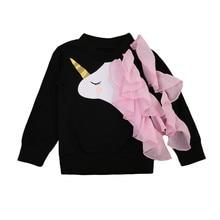 Pudcoco/Одежда для маленьких девочек; Новинка г.; Осенняя хлопковая черная футболка с длинными рукавами и принтом единорога для девочек