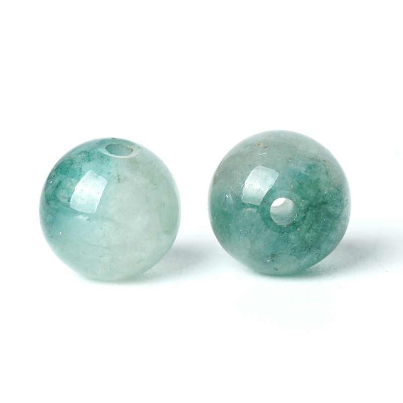 TopGoods พลอยแท้สีเขียว Jasper หลวม Rosary ลูกปัดหิน 6/8/10mm 15 ''หินหยกควอตซ์อัญมณีสำหรับสร้อยข้อมือ