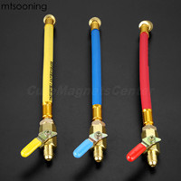 mtsooning 3Pcs 9.8 1/4 SAE R134A R410a Brass AC Refrigerant HVAC AC Charging Hoses with Ball Shut Off Valves