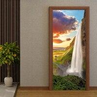 Fototapeta 3D wodospad krajobraz drzwi naklejki salon kuchnia pcv samoprzylepne wodoodporne naklejki drzwi plakat naklejki w Naklejki na drzwi od Dom i ogród na