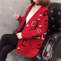 Women Geometric Warm Autumn Winter Sweater Cardigan Ladies V Neck Knitted Cardigan Long Sleeve Crochet Korean Jumper AA11926
