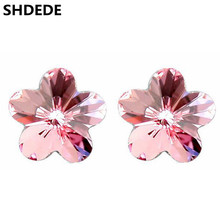 SHDEDE Cute Jewelry Gift Crystal from Swarovski Flower Earrings For Women High Quality Fashion Stud Earrings  *.1205 цена 2017
