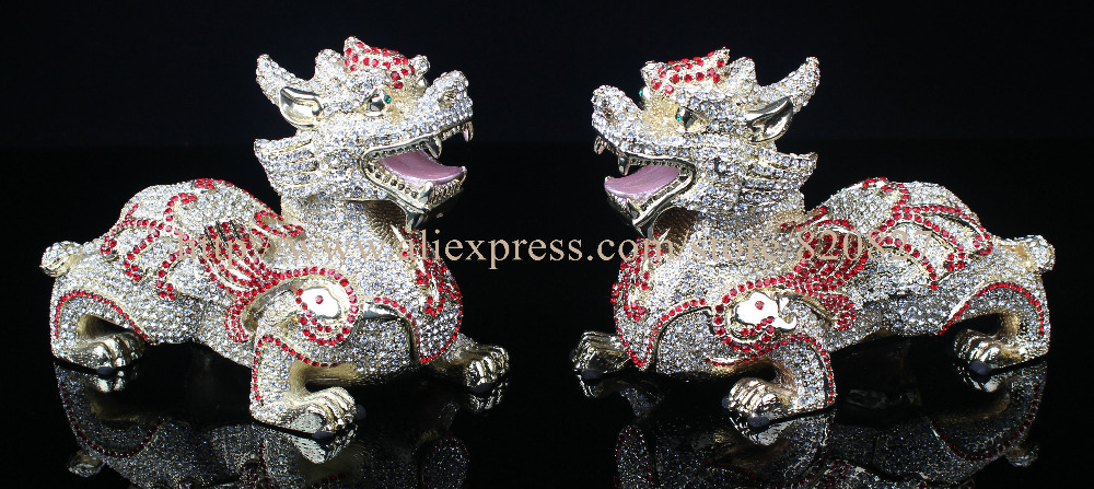 Feng Shui Big Kylin Chinese Dragon Display Chinese Kylin Dragon Enamel Bejeweled Rhinestone Decor Trinket Jewelry Box 2pcs pair acq25 45 airtac type aluminum alloy thin cylinder all new acq25 45series 25mm bore 45mm stroke