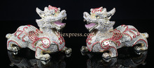 Feng Shui Big Kylin Chinese Dragon Display Chinese Kylin Dragon Enamel Bejeweled Rhinestone Decor Trinket Jewelry Box  2pcs pair