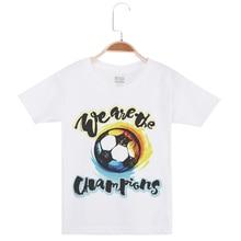 цена на New Funny T-Shirt Kids Tees For Boys Fashion Cotton O-Neck Tees Boy Tshirts Football Printing Short Sleeve Basic White Tee Shirt