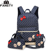 2017 New Girl School Student Backpack Cute Bow 3 Pieces Polka Dot Crossbody Bags for Women