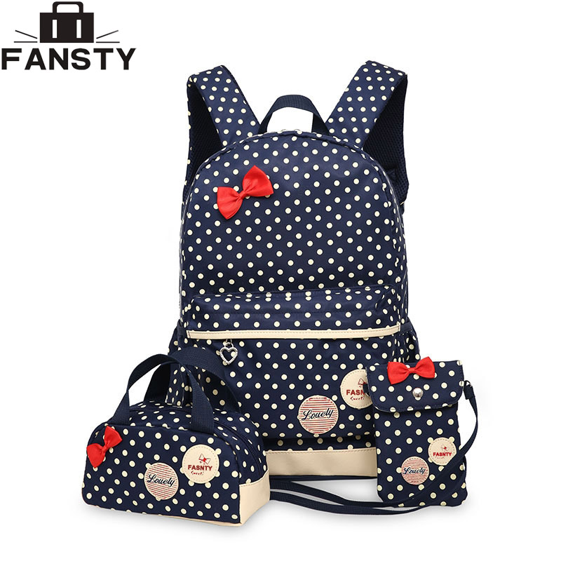 2017 New Girl School Student font b Backpack b font Cute Bow 3 Pieces Polka Dot
