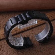 Новое поступление ремешок из нержавеющей стали для samsung Galaxy Watch 42 мм ремешок для часов 20 мм изогнутые концы черный браслет металлический матовый ремешок для часов