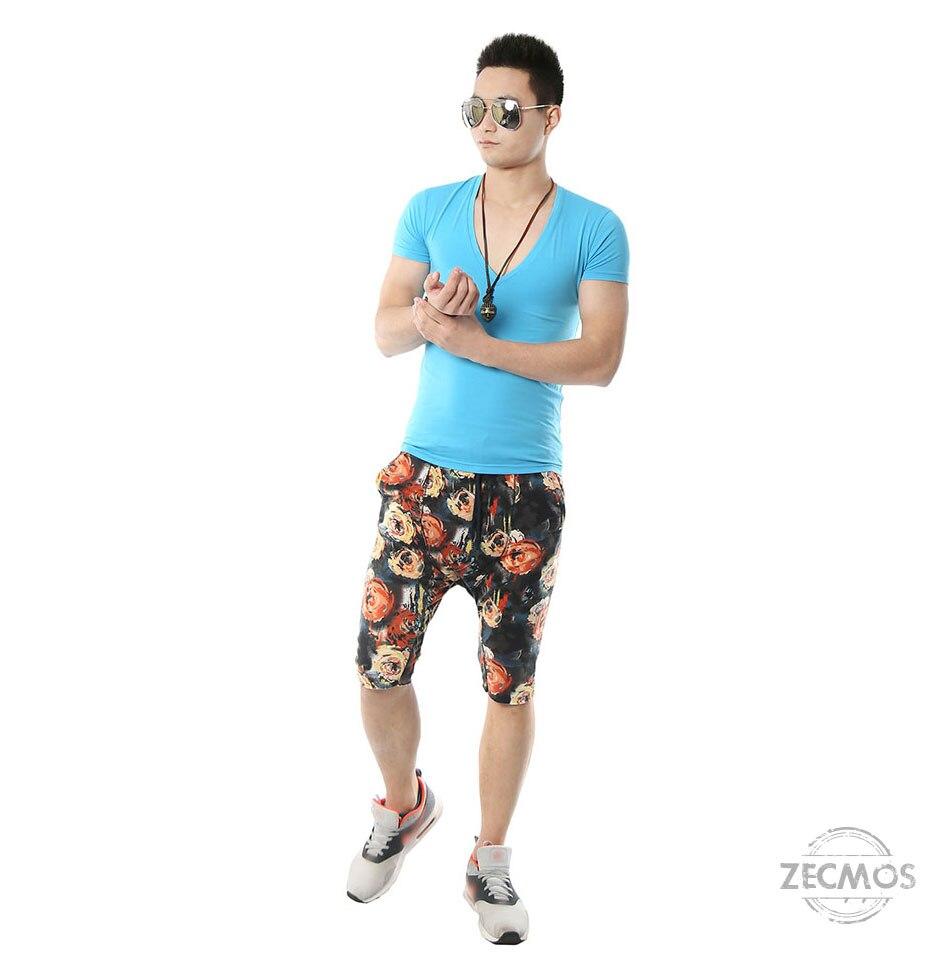 Zecmos Deep V Neck Sexy Men T-Shirt Vintage Short Sleeve Solid Color Muscle Fit T Shirt Men Top Tees Fashion 47