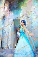 Бесплатная доставка На Заказ высокого qualtity сейлор мун Спокойствие Ртути синий платье принцессы косплей костюм