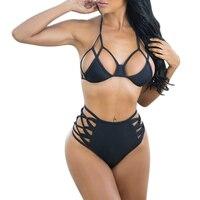 New 2017 Sexy Women Top Padded Bra Micro Bikini Set High Waisted Bandage Swimwear Cut Out