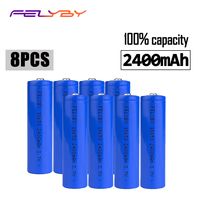 FELYBY 8pcs 2400mAh 18650 brand 100% capacity li ion battery 3.7v lithium 18650 rechargeable battery For Laser pen flashlight