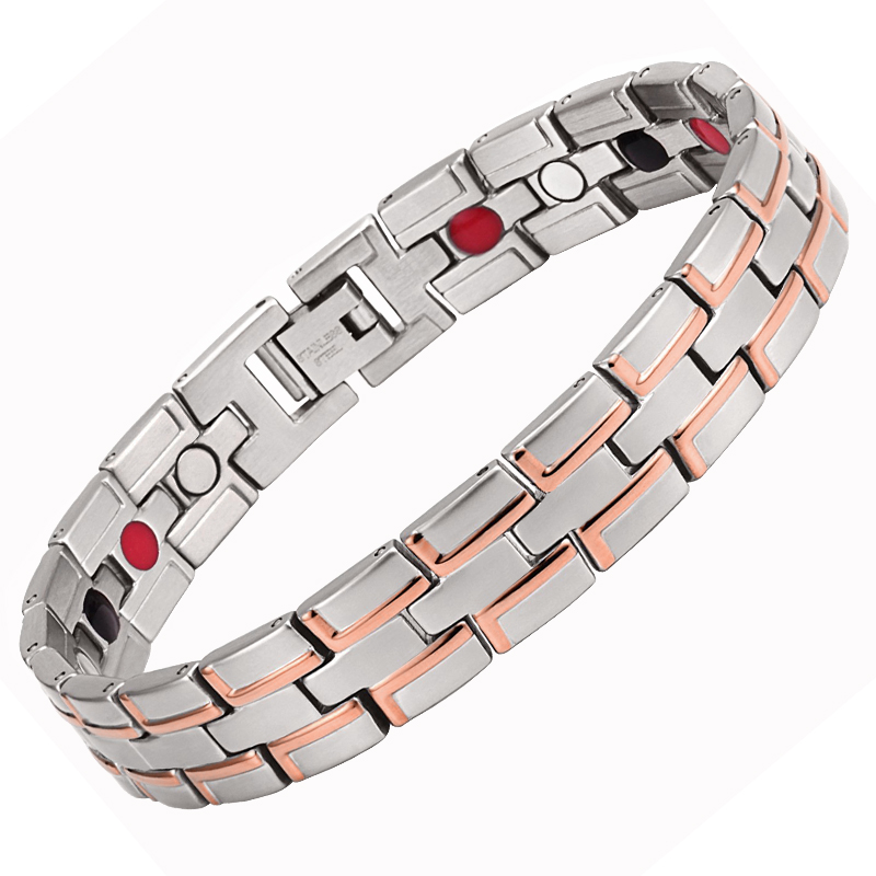 Drop-Shipping Healing Magnetic Bracelet Men/Woman 316L Stainless Steel Health Elements Golding Plated Bracelets Hand Chain