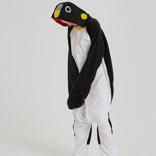 Очаровательный черный пингвин Кигуруми для взрослых пижамы теплый флис  Onesie для Хэллоуина цельный милый комбинезон костюм 2077a6821ed27