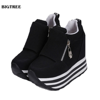 Free Shipping Zapatillas Deportivas 2015 New Autumn Style Shoes Woman Increasing Heel Fashion Sneakers Zapatos Mujer