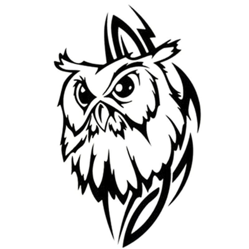 10.8X18CM Tribal Owl Personality Interesting Car Sticker Vinyl Decorative Decal Accessories Black Silver S6-2591(China)