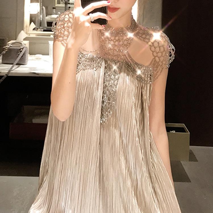 2018 новые летние Для женщин Сексуальная See Through взлетно посадочной полосы платье Женский Бисер выдалбливают Платья для вечеринок мяч Gwon плат