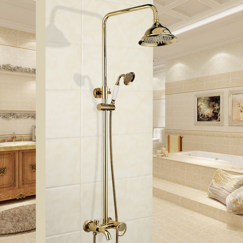 New Arrival Shower Set Gold Brass Rainfall Shower Faucet+Tub Mixer Tap+Hand held Shower Bath and shower faucet