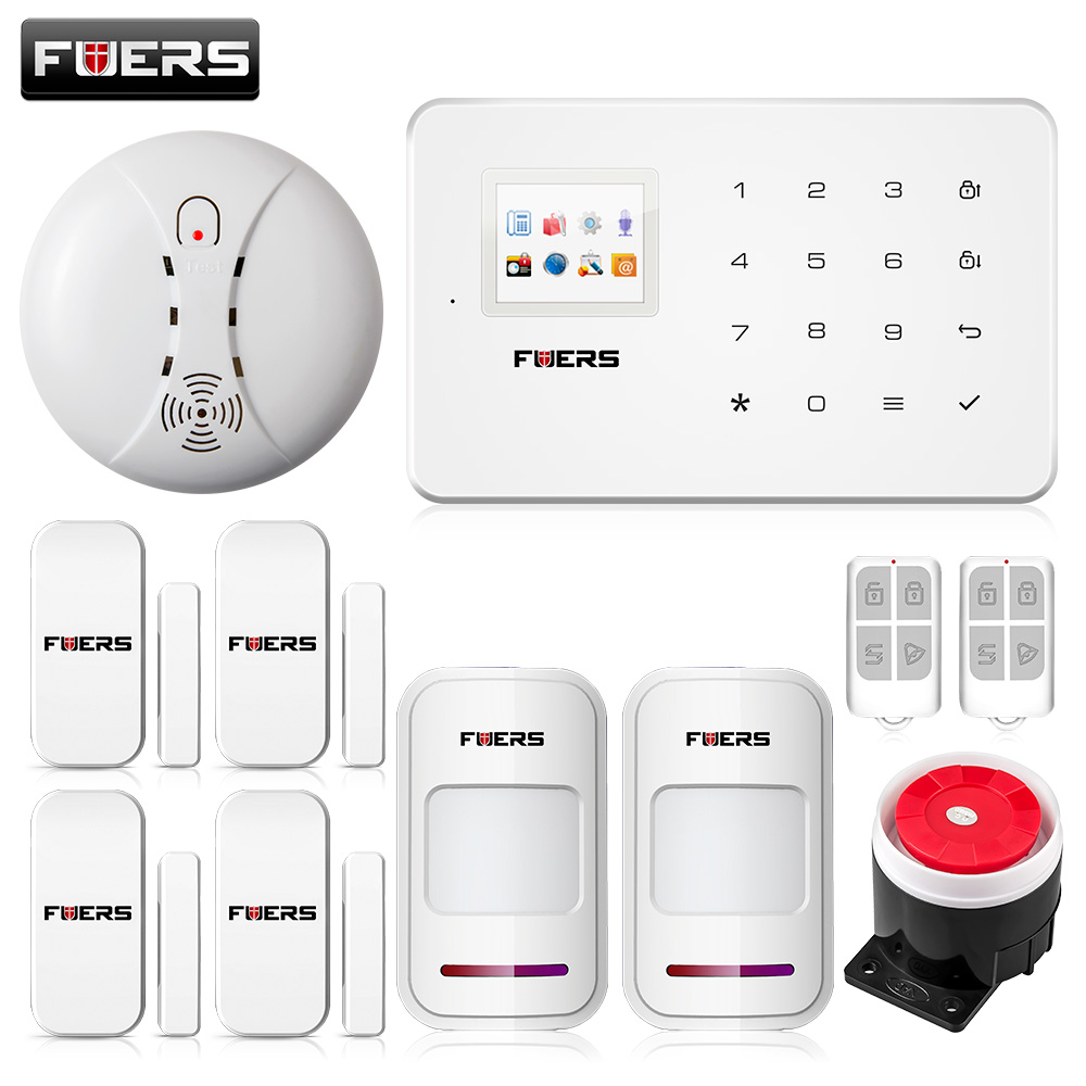 ФОТО Fuers ios android app GSM home alarm system with touch screen TFT color display Easy Operation+smoke fire detector no battery