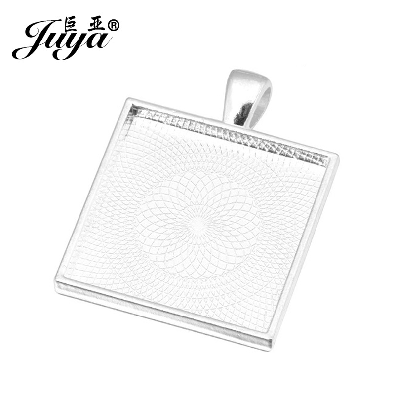 JUYA 10pcs/lot 25mm Square Cabochons Bases Settings Zinc Alloy Pendant Bezel Trays Fit 25mm Glass Cabochon DIY Necklace Making